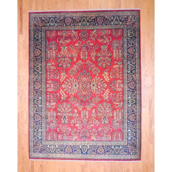 """Indo Traditional Hand-Knotted Sarouk Red/Navy Wool Rug (8'9"""" x 11'8"""")"""