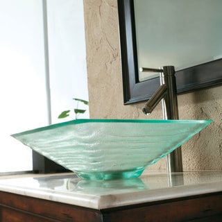 CAE Tempered Glass Sink with Brushed Nickel Faucet