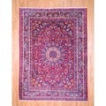Persian Hand-knotted Mashad Red/ Navy Wool Rug (8'6 x 11'6)