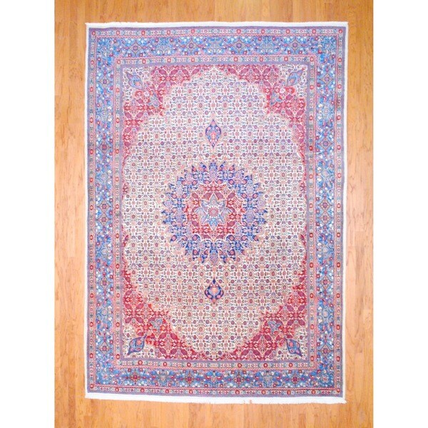 Persian Hand-knotted Moud Ivory/ Red Wool Rug (8'5 x 12')
