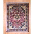 Indo Hand-knotted Farahan Red/ Black Wool Rug (9' x 11'6)