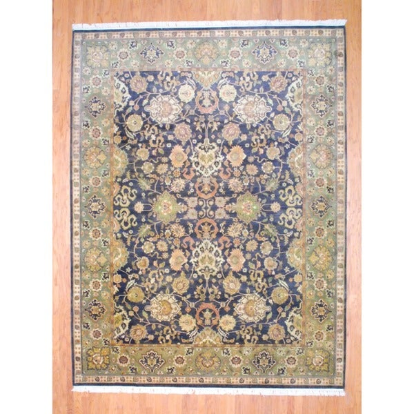 Indo Hand-knotted Mahal Dark Brown/ Light Green Wool Rug (9'2 x 12'1)