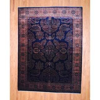 Indo Hand-knotted Sarouk Navy/ Peach Wool Rug (8'4 x 11'7)