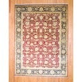 Indo Hand-knotted Farahan Red/ Black Wool Rug (9' x 12')