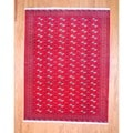 Persian Hand-knotted Turkoman Red/ Black Wool Rug (8'5 x 11')