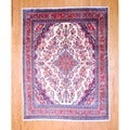 Persian Hand-knotted Hamadan Ivory/ Red Wool Rug (8'8 x 11'2)