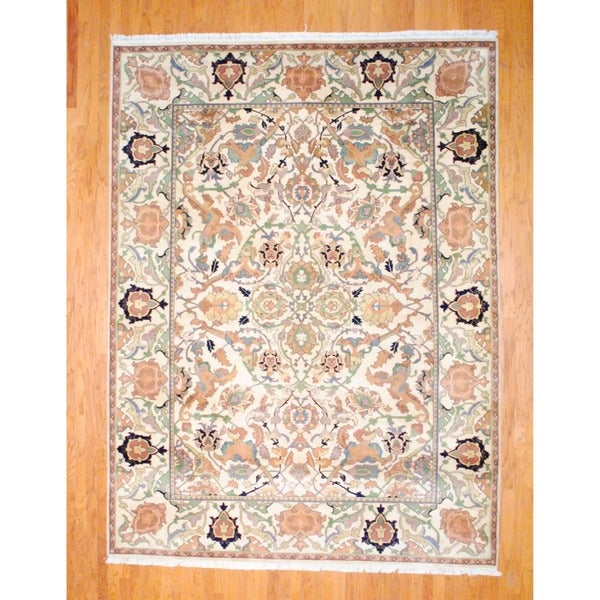 Indo Hand-knotted Oushak Ivory/ Green Wool Rug (9' x 12')