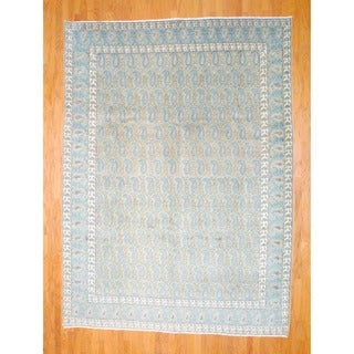 Persian Hand-knotted 1940's Kashan Sage/ Light Blue Wool Rug (9' x 12')