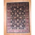 Indo Hand-knotted Sarouk Black/ Red Wool Rug (9' x 12')