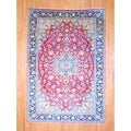 Persian Hand-knotted Isfahan Red/ Navy Wool Rug (8' x 11'7)