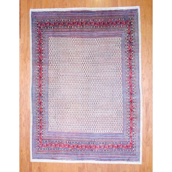 Persian Hand-knotted Mir Ivory/ Red Wool Rug (8'10 x 12'2)