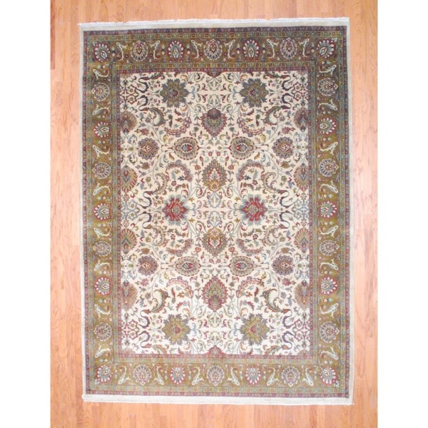 Herat Oriental Indo Hand-knotted Mahal Ivory/ Red Wool Rug (8'8 x 12')