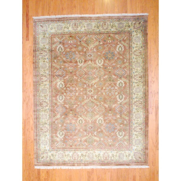 Indo Hand-knotted Oushak Light Brown/ Ivory Wool Rug (9' x 12')