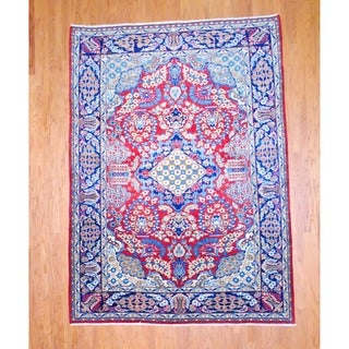 Persian Hand-knotted Isfahan Red/ Navy Wool Rug (7'8 x 10'7)