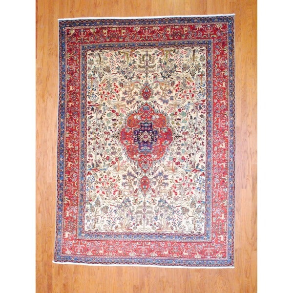 Persian Hand-knotted Tabriz Ivory/ Red Wool Rug (8'1 x 11'2)