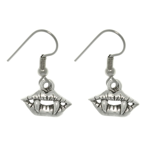 CGC Pewter True Vampire Lip and Fang Earrings