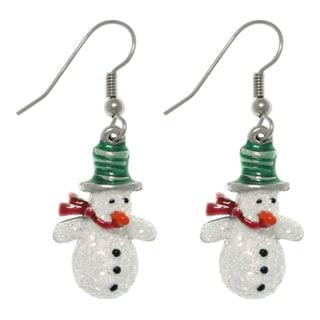 CGC Pewter Glittery Snowman Dangle Earrings