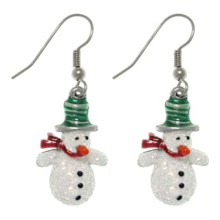 CGC Pewter Glittery Snowman Dangle Earrings