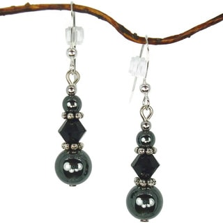 Jewelry by Dawn Hematite And Black Triple Bead Earrings