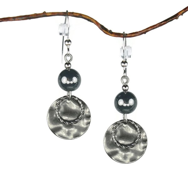 Jewelry by Dawn Hematite With Hammered Double Drop Earrings