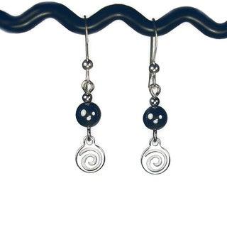 Jewelry by Dawn Hematite With Silver Swirl Drop Earrings