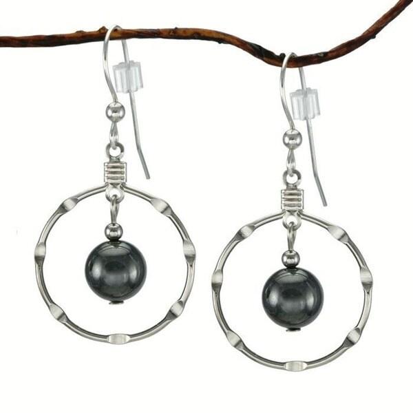 Jewelry by Dawn Hematite Silver Hoop Earrings 10263652