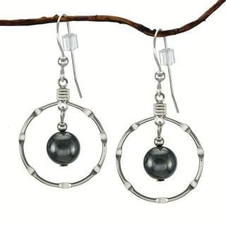 Jewelry by Dawn Hematite Silver Hoop Earrings