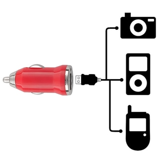 BasAcc Red Universal USB Mini Car Charger Adapter