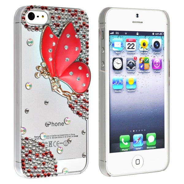 BasAcc Clear with Red Fairy and Diamond Case for Apple iPhone 5