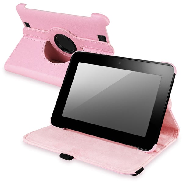 INSTEN Pink Leather Swivel Phone Case Cover for Amazon Kindle Fire HD 7-INCH