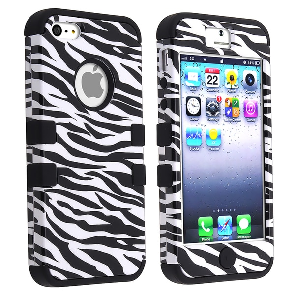 BasAcc Black/ Black White Zebra Hybrid Case for Apple iPhone 5
