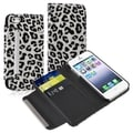 BasAcc White/ Black Leopard Leather Wallet Case for Apple iPhone 5