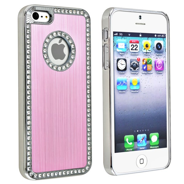INSTEN Bling Luxury Light Pink Snap-on Phone Case Cover for Apple iPhone 5