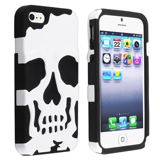 BasAcc Black Skin/ White Hard Skull Hybrid Case for Apple iPhone 5
