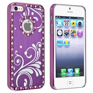 BasAcc Bling Luxury Purple with Flower Snap-on Case for Apple iPhone 5