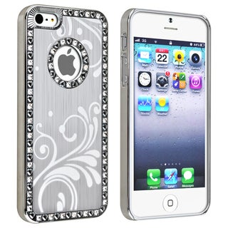 BasAcc Bling Luxury Silver with Flower Snap-on Case for Apple iPhone 5