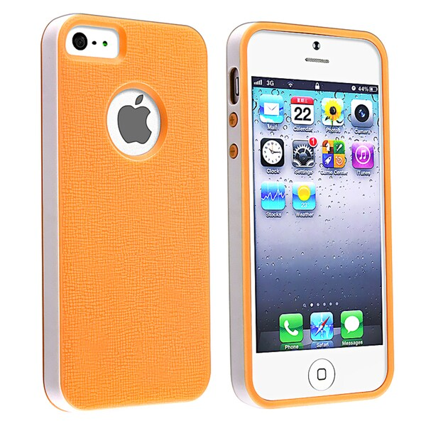 BasAcc Orange/ White Bumper TPU Rubber Skin Case for Apple® iPhone 5