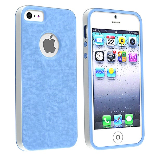 BasAcc Blue/ White Bumper TPU Rubber Skin Case for Apple® iPhone 5