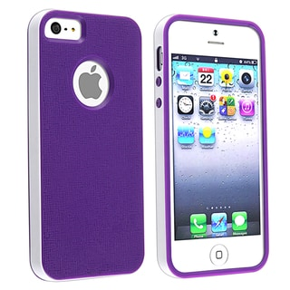 BasAcc Purple/ White Bumper TPU Rubber Skin Case for Apple iPhone 5