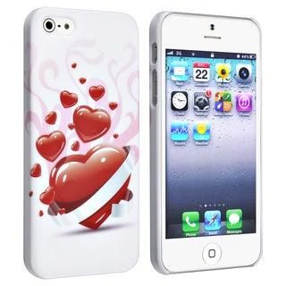 BasAcc White/ Red Heart Snap-on Rubber Case for Apple� iPhone 5