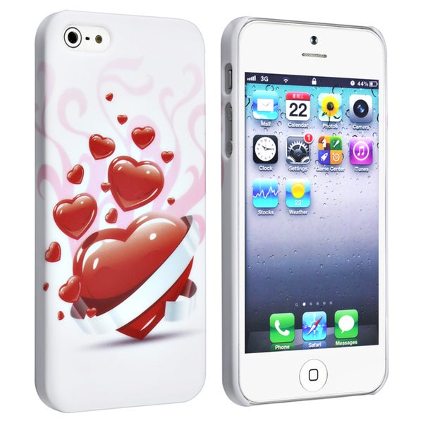 INSTEN White/ Red Heart Snap-on Rubber Phone Case Cover for Apple iPhone 5/ 5S