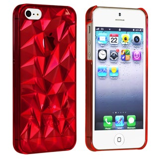 BasAcc Clear Red Diamond Cut Snap-on Case for Apple� iPhone 5