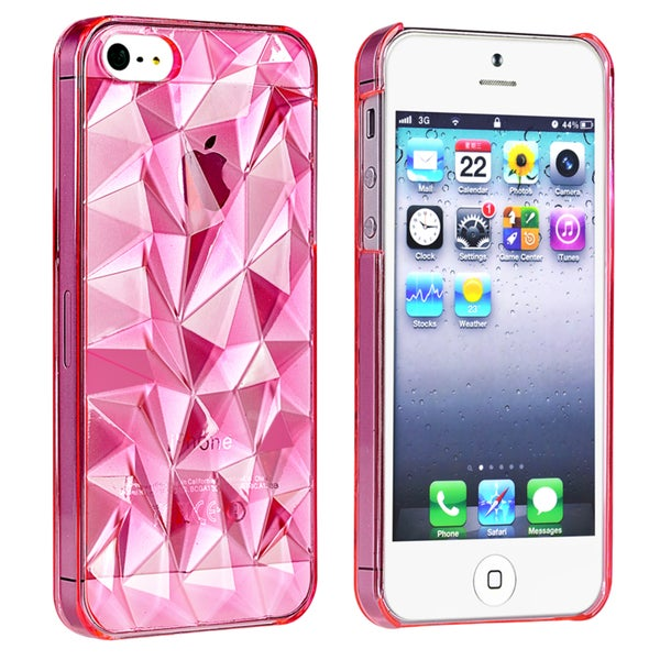 BasAcc Clear Light Pink Diamond Cut Snap-on Case for Apple® iPhone 5/ 5S