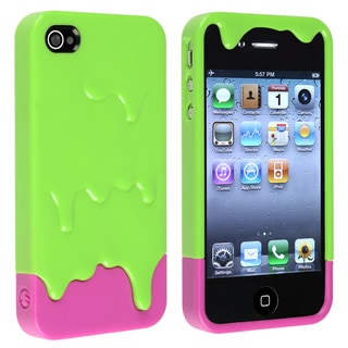 BasAcc Green/ Pink Ice Cream Snap-on Case for Apple� iPhone 4/ 4S