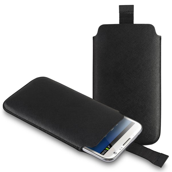 INSTEN Black Pull Leather Pouch for Samsung Galaxy Note II N7100