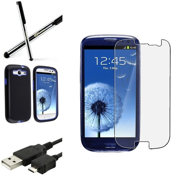 BasAcc Black Dual-Layer Case/Screen Protector/Stylus for Samsung Galaxy S3