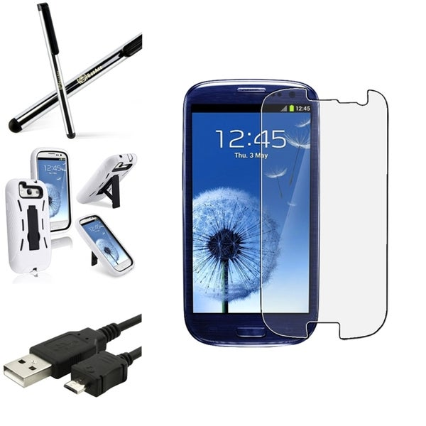 BasAcc White Hybrid Case/Anti-Glare Screen Protector/Stylus for Samsung Galaxy S3