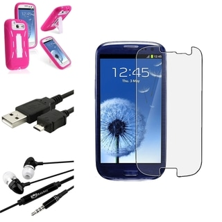 Pink BasAcc Case with Stand/Screen Protector/Headset for Samsung Galaxy S3