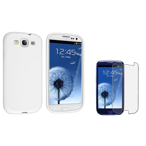 INSTEN TPU Phone Case Cover/ Anti-glare LCD Protector for Samsung Galaxy S III/ S3