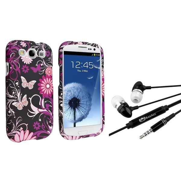 BasAcc Pink Butterfly Case/ Black Headset for Samsung Galaxy S III/ S3